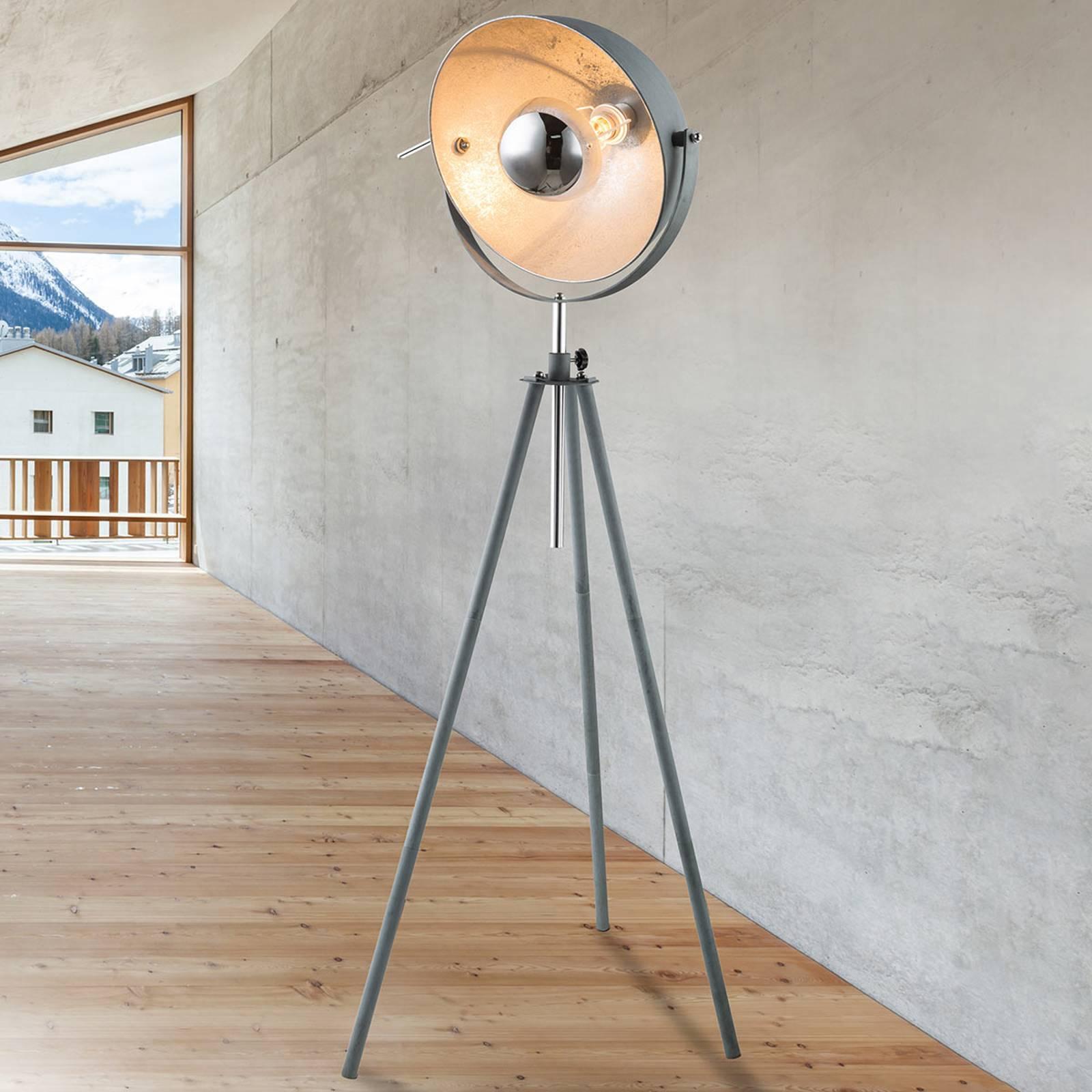Kolmijalkainen lattiavalaisin Miriam, betonityyli