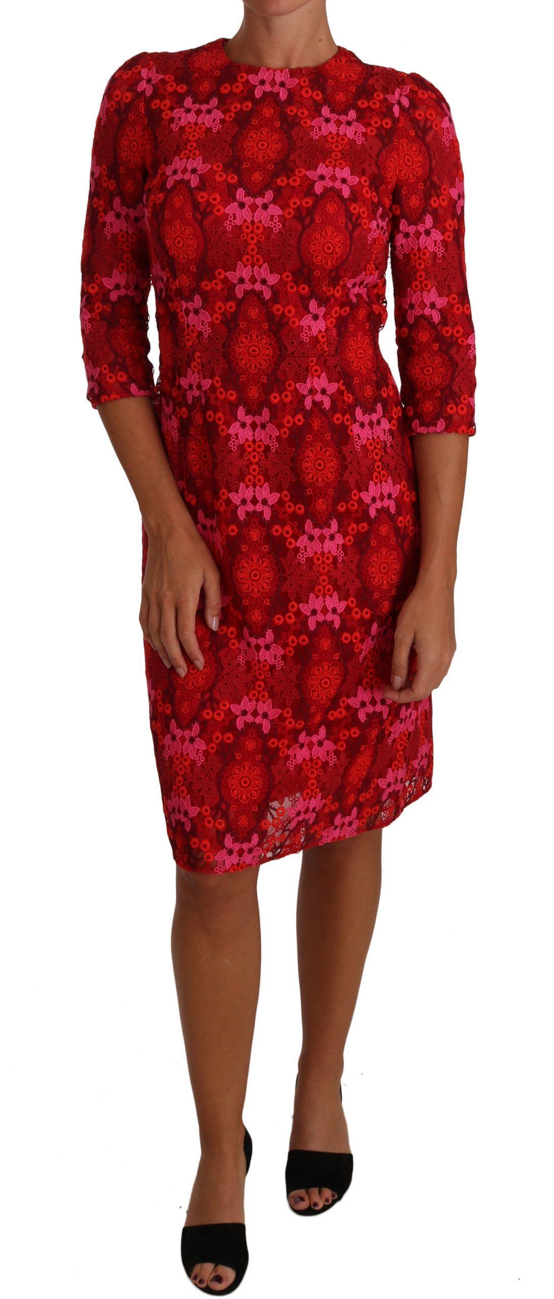 Dolce & Gabbana Women's Floral Crochet Lace Sheath Dress Pink DR1458 - IT40|S