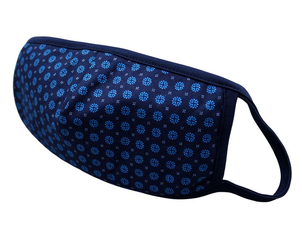 Bomull Ansiktsmask, Blå runde blomster på mørk blå, Blå, flowers