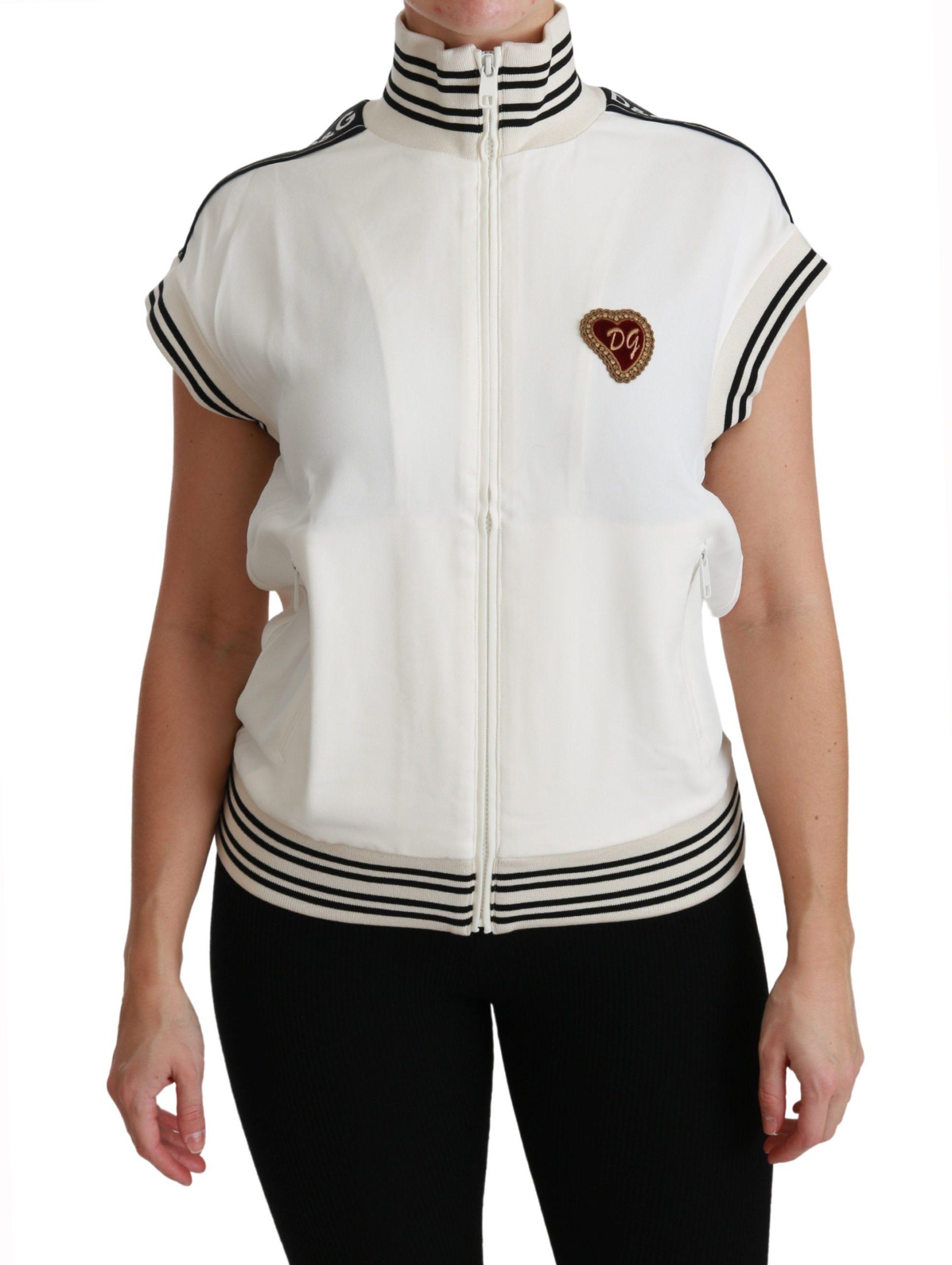 Dolce & Gabbana Women's Sacro Cuore Heart Zipper Sweater Black TSH4510 - IT36   XS