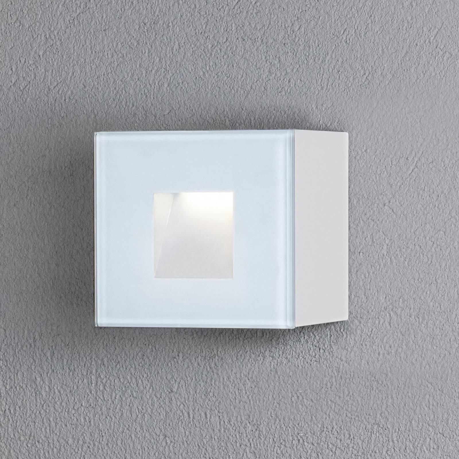 Chieri utendørs LED-vegglampe, 8 x 8 cm, hvit