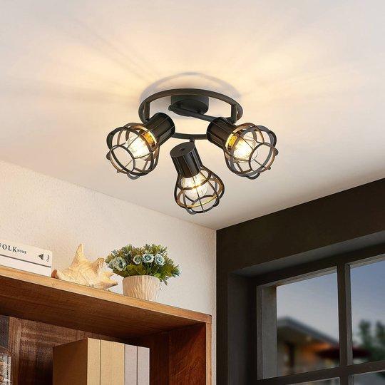 Lindby Nurja taklampe, rondell, 3 lyskilder