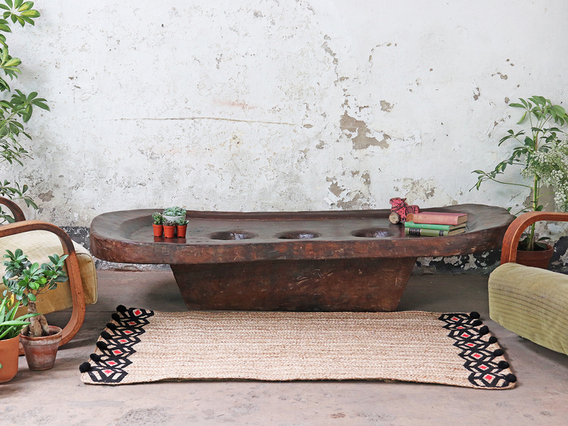 Antique Naga Wooden Grinding Table Extra Large