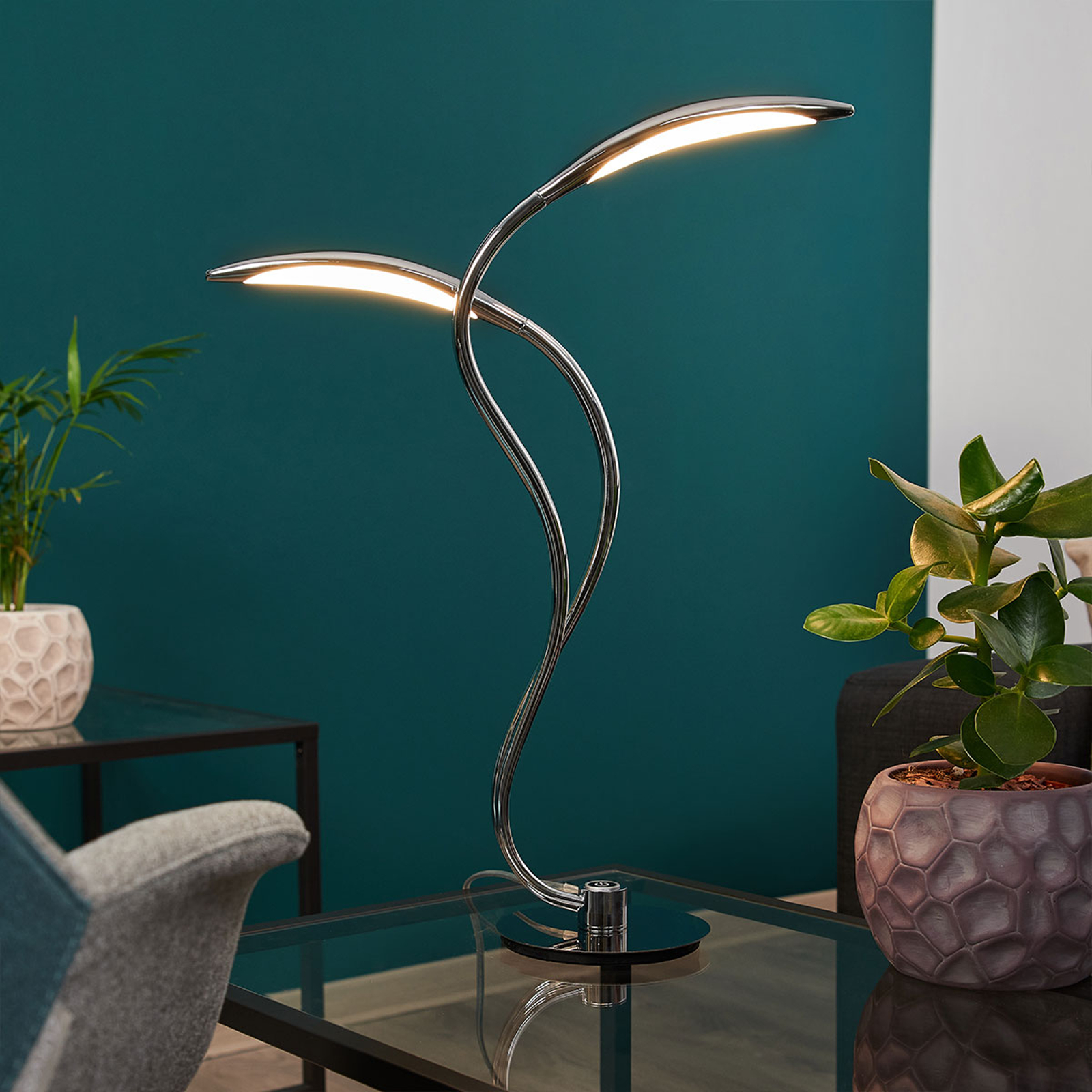 LED-pöytälamppu Hampton, himmennys, kromi, 2-lamp