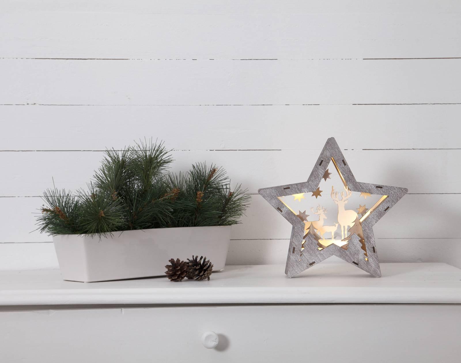 Fauna-LED-koristetähti puuta, korkeus 24 cm