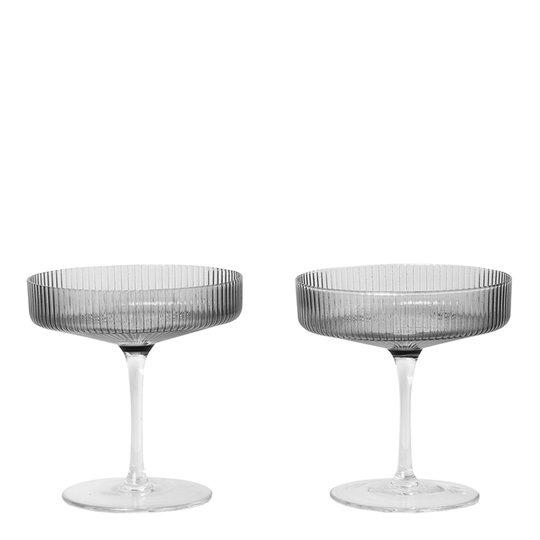 Ferm Living - Ripple Champagneglas 15 cl 2-pack Rök