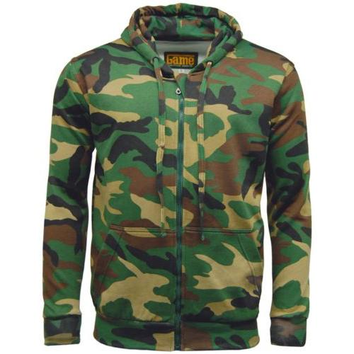 Game Technical Apparel Unisex Hoodie Various Colours Camo Zipper - Woodland S