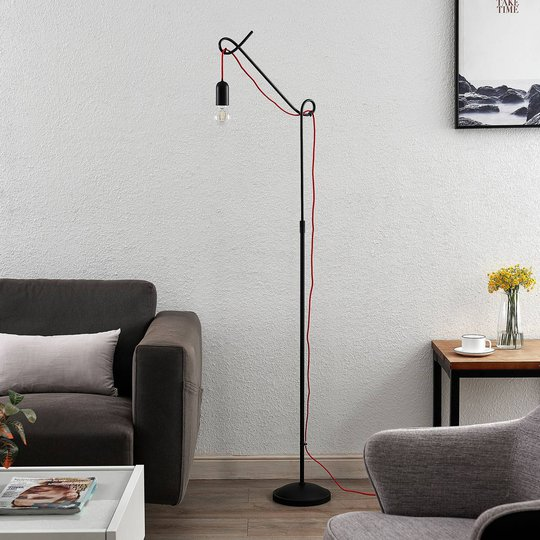 Lucande Jorna gulvlampe i svart, rød kabel