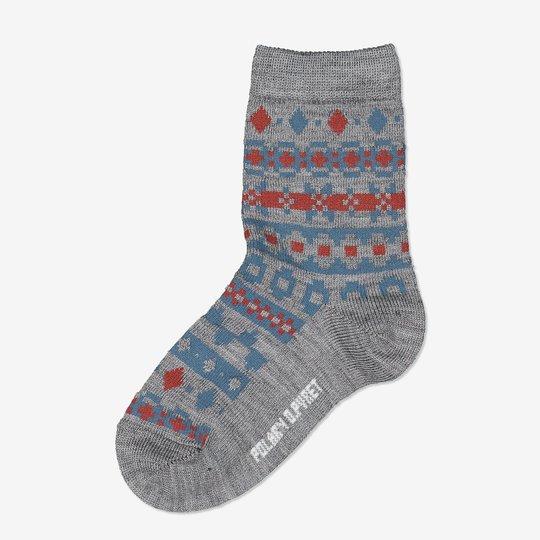 Merinoull jaquard sokker gråmelange
