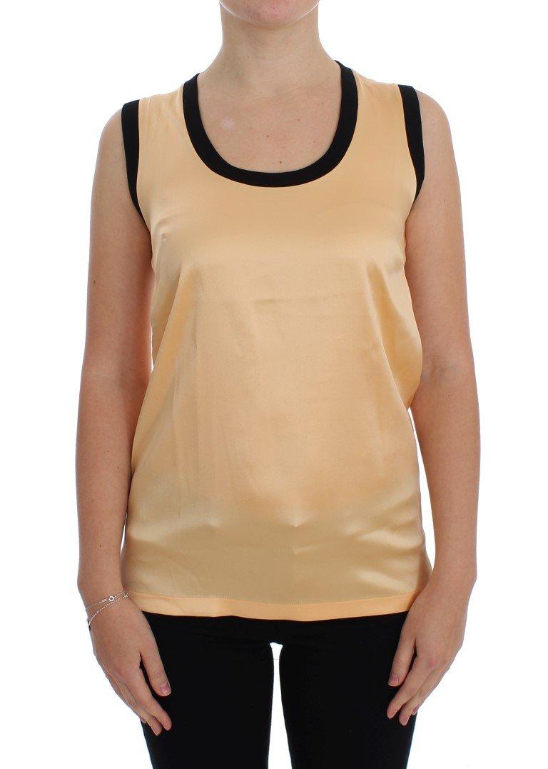Dolce & Gabbana Women's Silk Stretch Tops Yellow SIG20503 - IT48|XXL