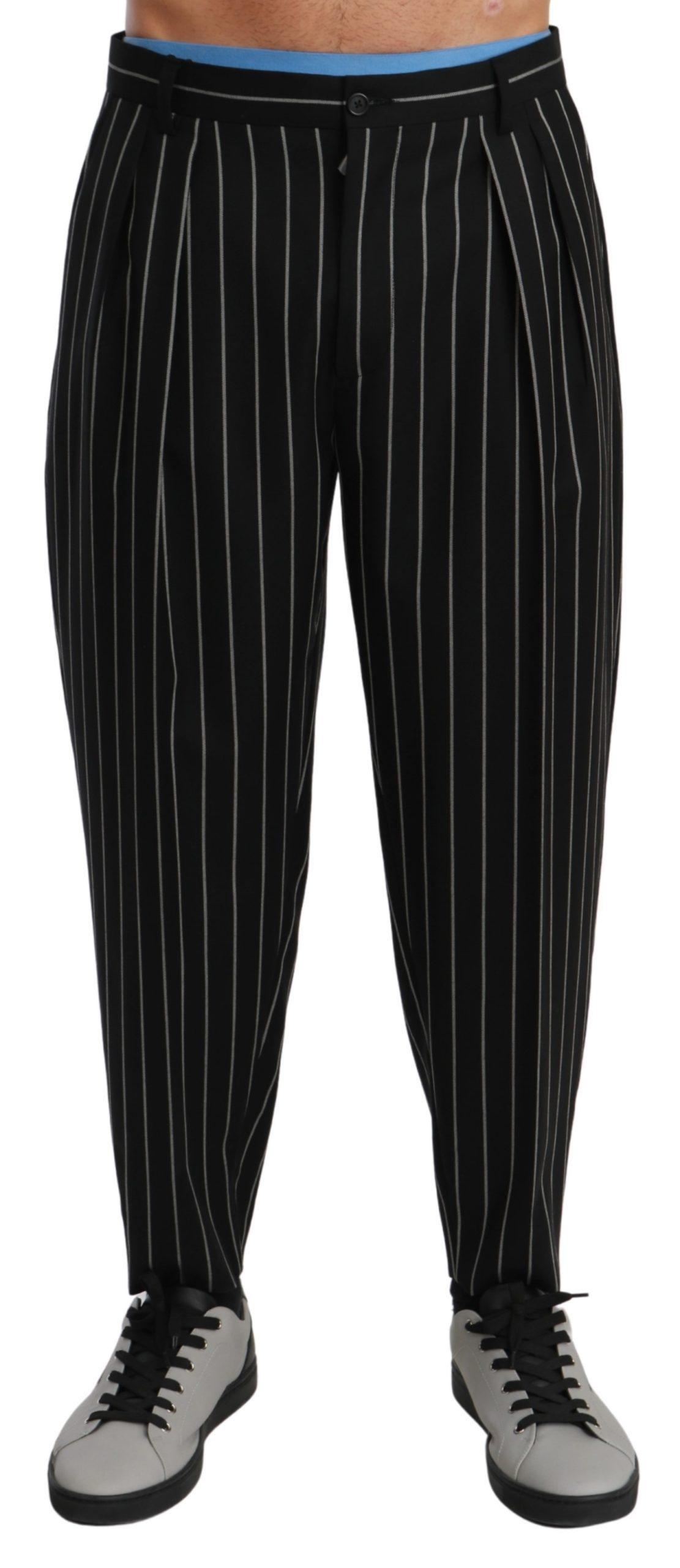 Dolce & Gabbana Men's Stripes Casual Wool Trouser Black PAN70972 - IT48   M