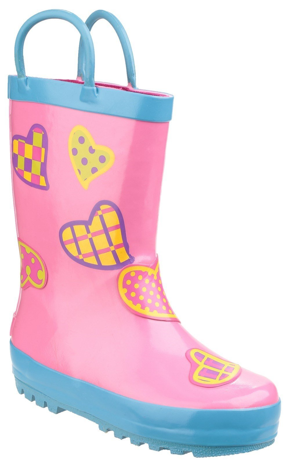 Cotswold Kids Puddle Waterproof Pull On Boot Multicolor 20962 - Hearts 4.5