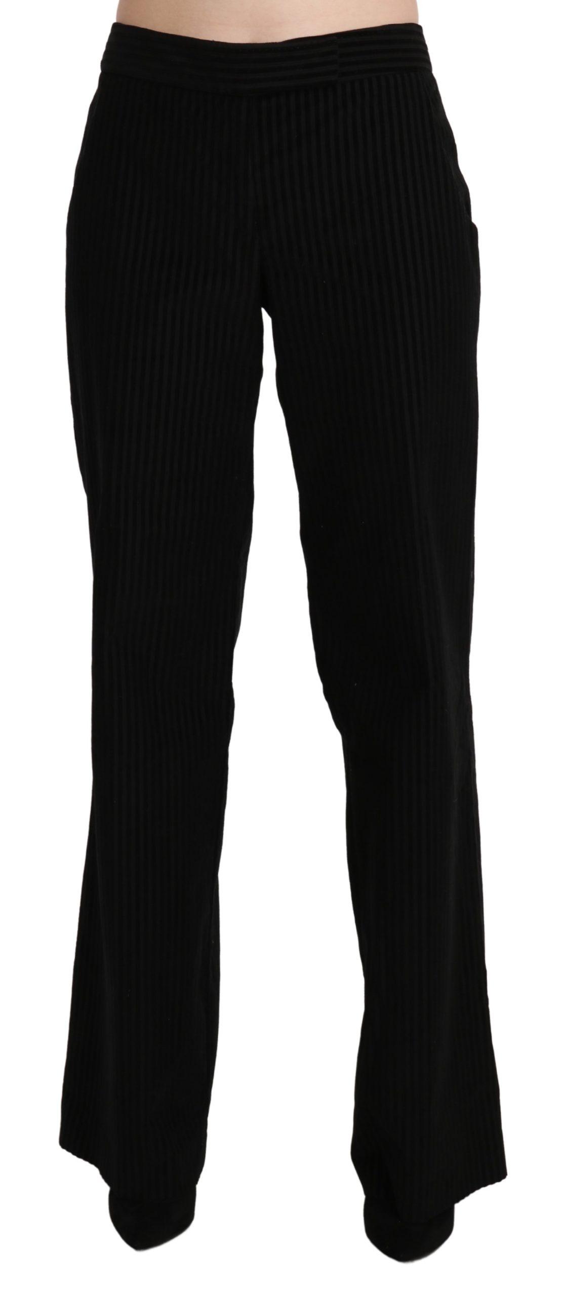 Cotton Black High Waist Flared Pants - IT44 L