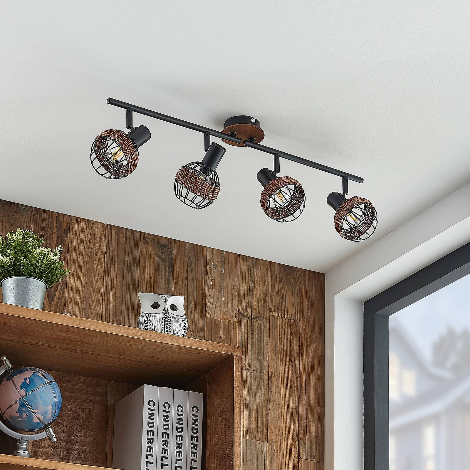 Lindby Nermina -kohdevalaisin rottinkia, 4 lamppua
