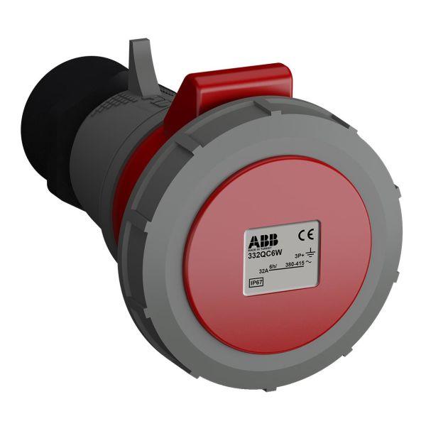 ABB 2CMA102375R1000 Jatkopistorasia pikaliitettävä, tärinänkestävä Punainen, 32 A, 4-napainen, IP67