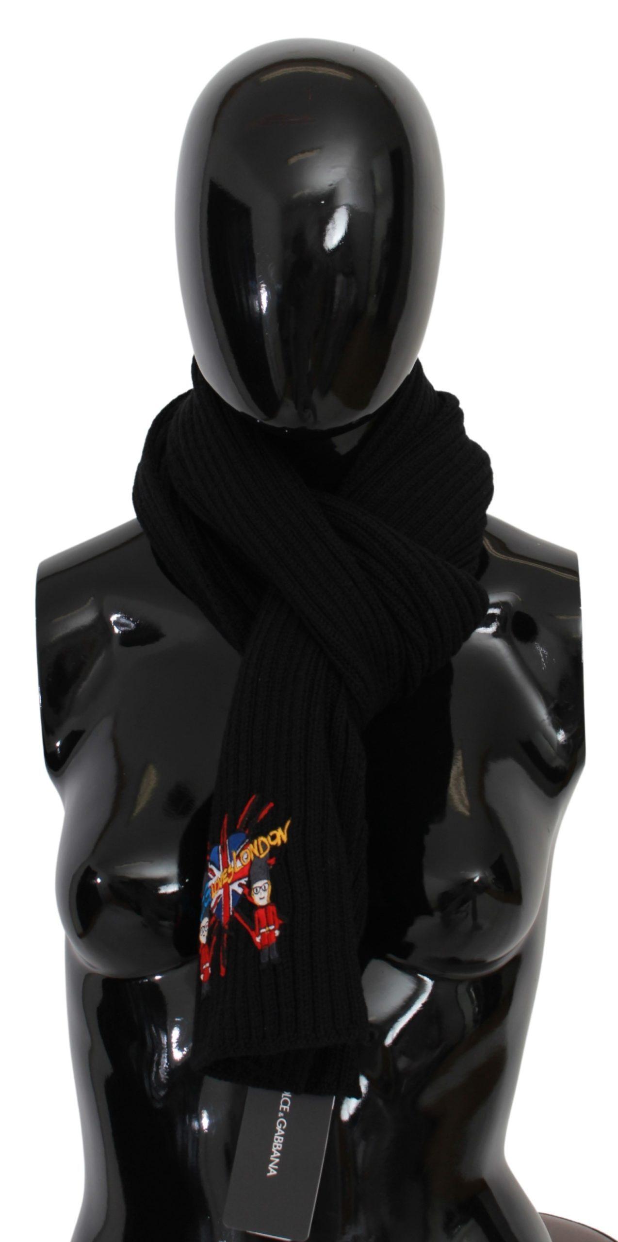 Dolce & Gabbana Women's DGLovesLondon Wool Scarf Black MS1692