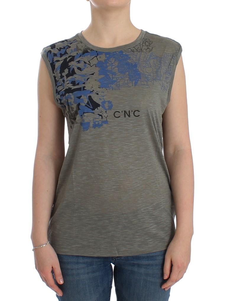Costume National Women's Print Sleeveless T-Shirt Gray SIG12531 - XS