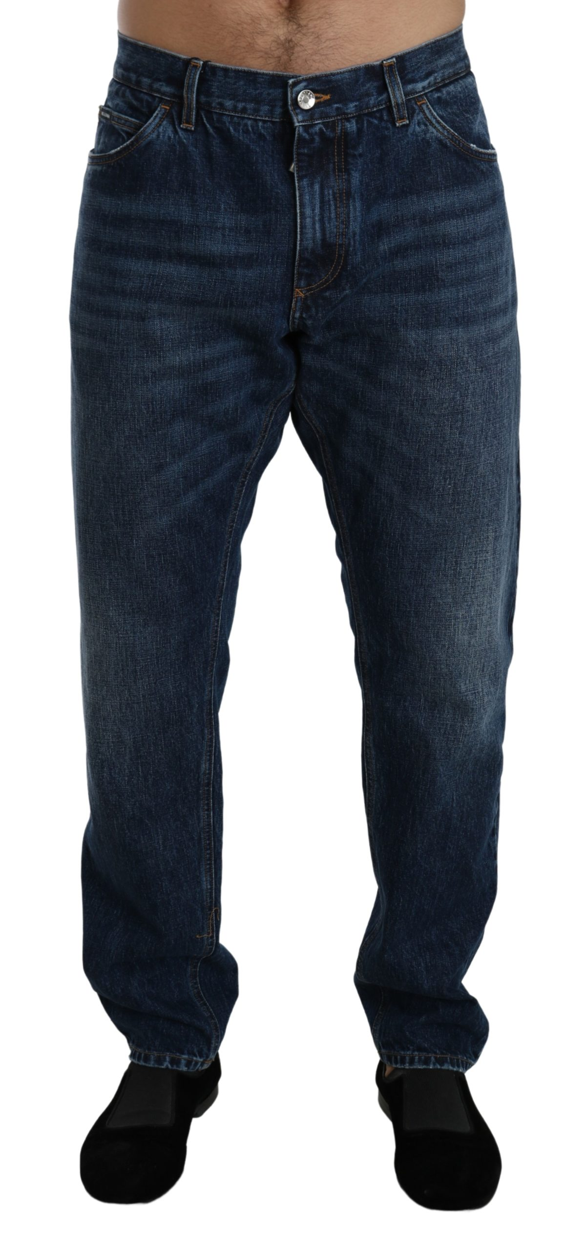 Dolce & Gabbana Men's Washed Slim Fit Denim Cotton Jeans Blue PAN71412 - IT56 | XXL