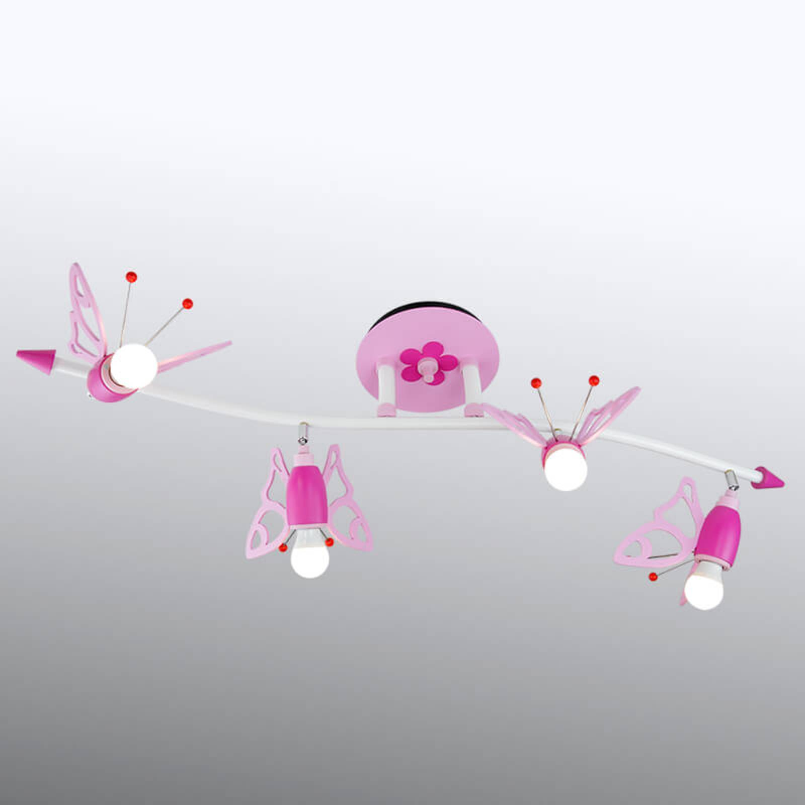 Lastenhuoneen Perhoset-kattokohdevalo 4-lamppuinen