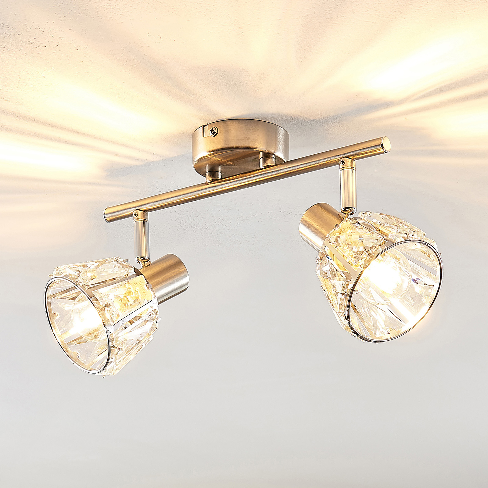 Lindby Kosta -kattovalaisin, 2-lamp., nikkeliä
