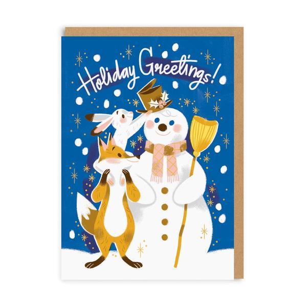 Holidays Greetings Snowman & Friends Christmas Card