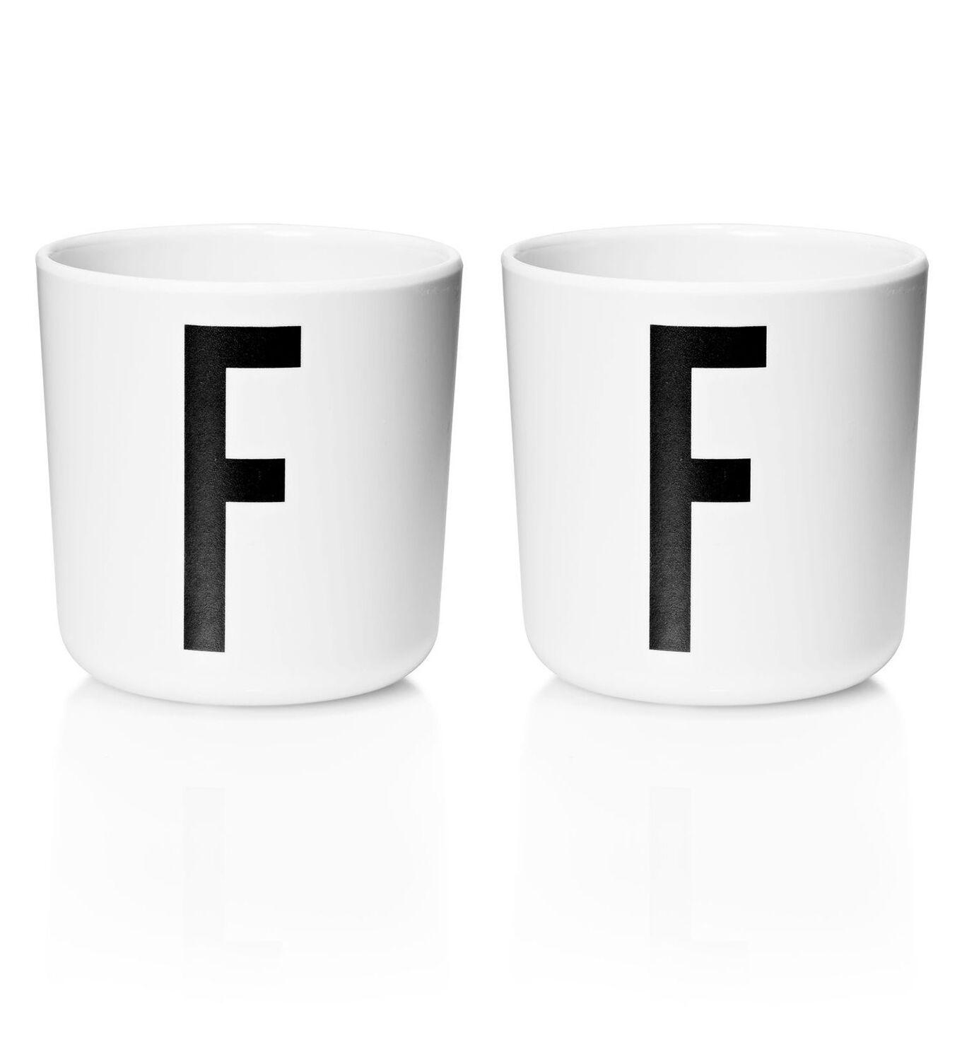 Design Letters - Personal Melamine Cup F - 2 pcs - White -(Bundle)