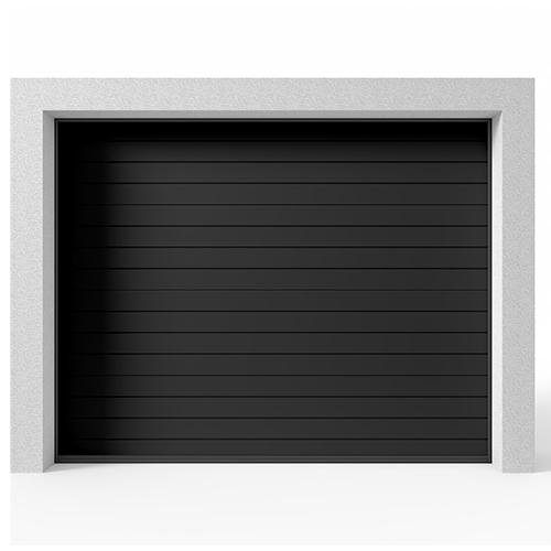 Garasjeport Leddport Moderne Striper Sort, 2400x2000