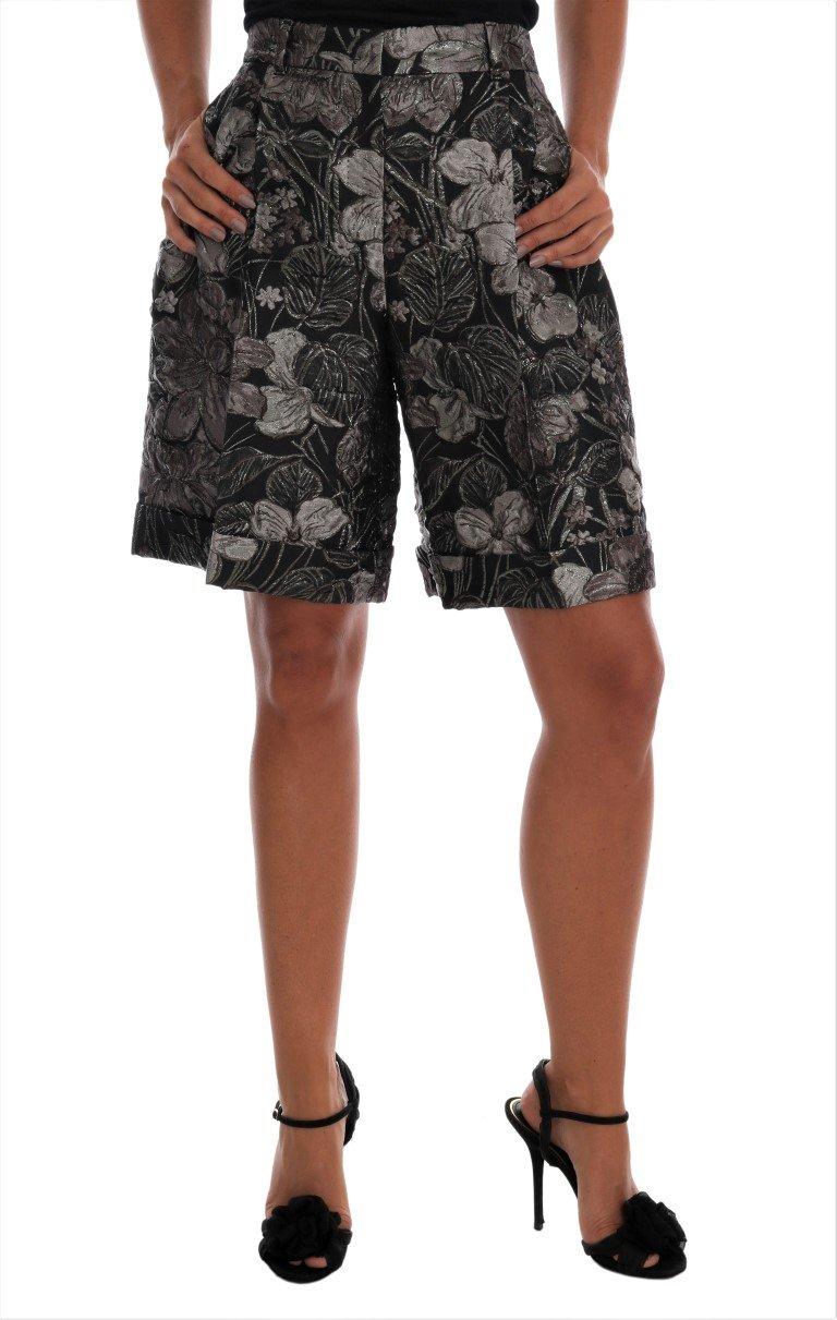 Dolce & Gabbana Women's Floral Brocade High Waist Shorts Gray SKI1076 - IT40 S
