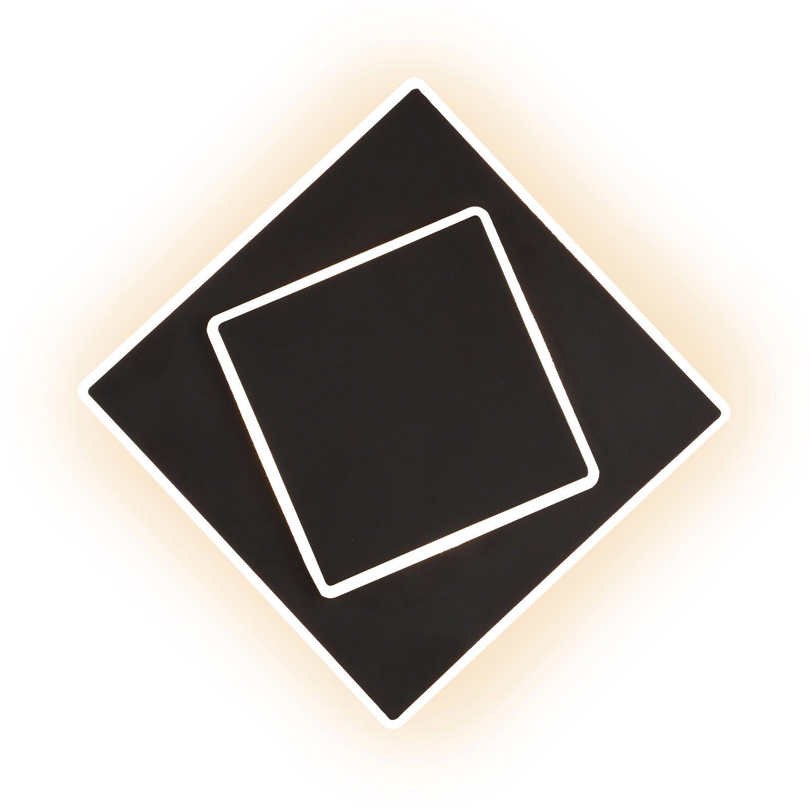 Dakla LED-vegglampe, svart, 18x18 cm