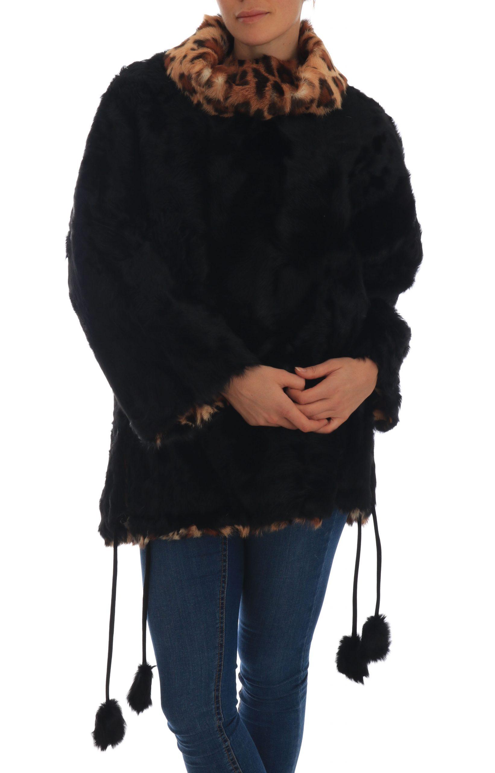 Dolce & Gabbana Women's Lamb Leopard Print Fur Coat Black TSH1933 - IT36   XS