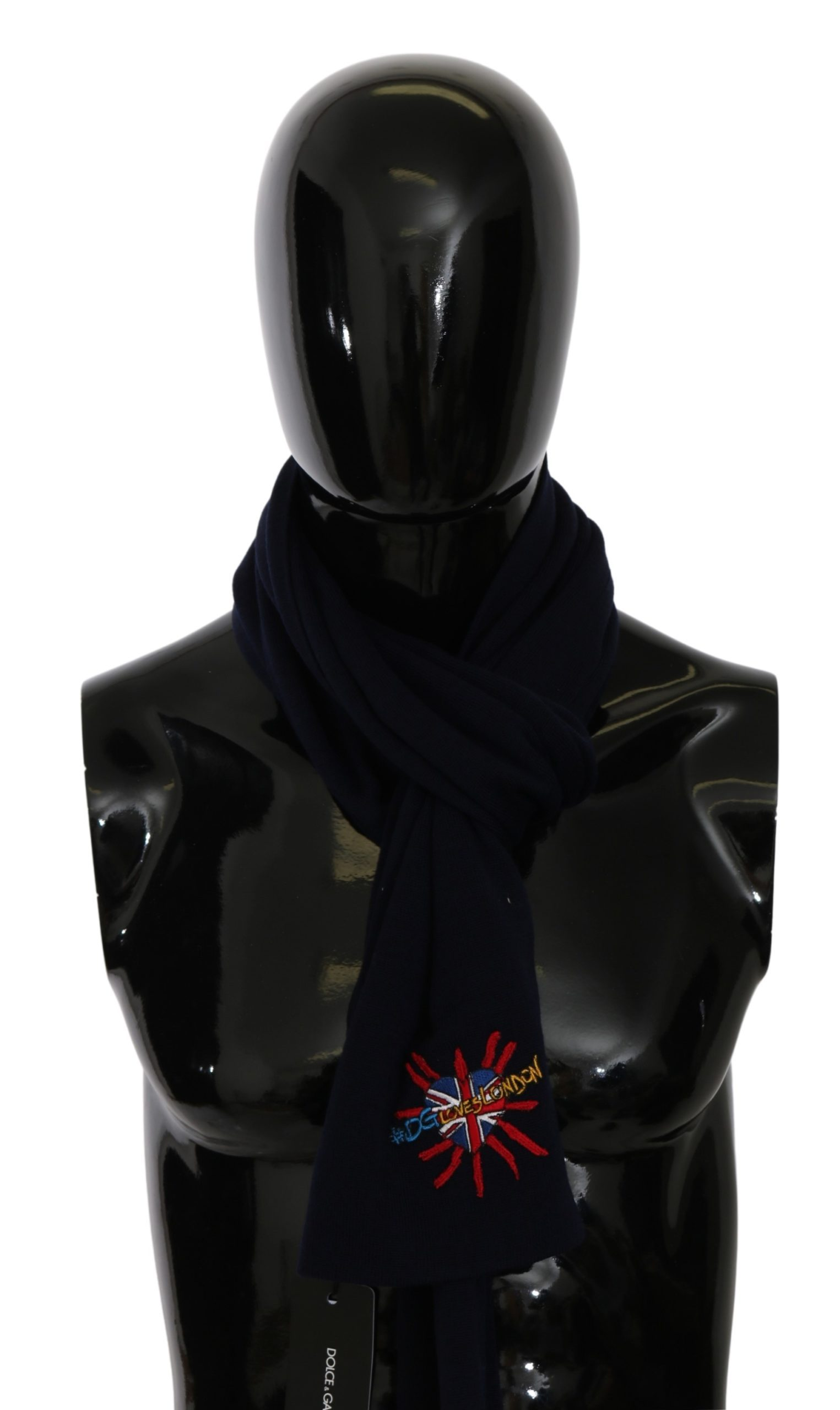 Dolce & Gabbana Men's #DGLovesLondon Wrap Wool Scarf Blue MS5641