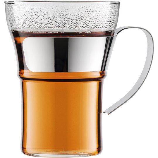 Bodum ASSAM Kaffeglas med krom handtag, 2 st. - 0,35 l