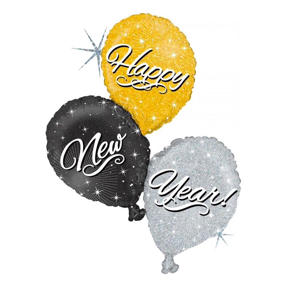 Folieballong Happy New Year Trio