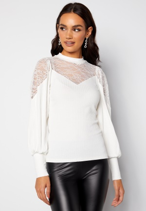 Happy Holly Nathalie lace puff top White 36/38
