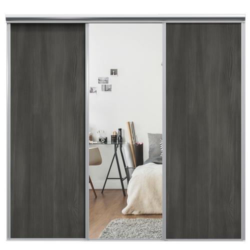 Mix Skyvedør Black wood / Sølvspeil 2080 mm 3 dører