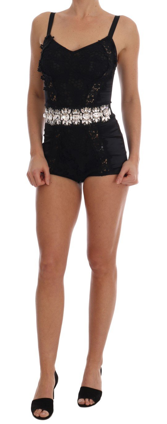 Dolce & Gabbana Women's Crystal Floral Bodysuit Dress Black TSH1763 - IT40|S