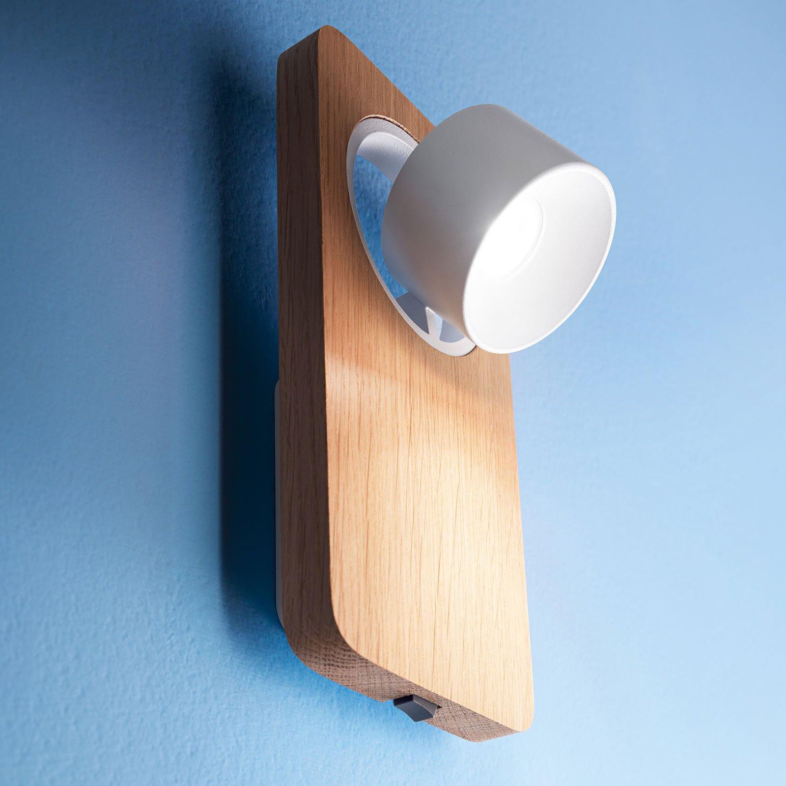 Beebo W LED-vegglampe, eik