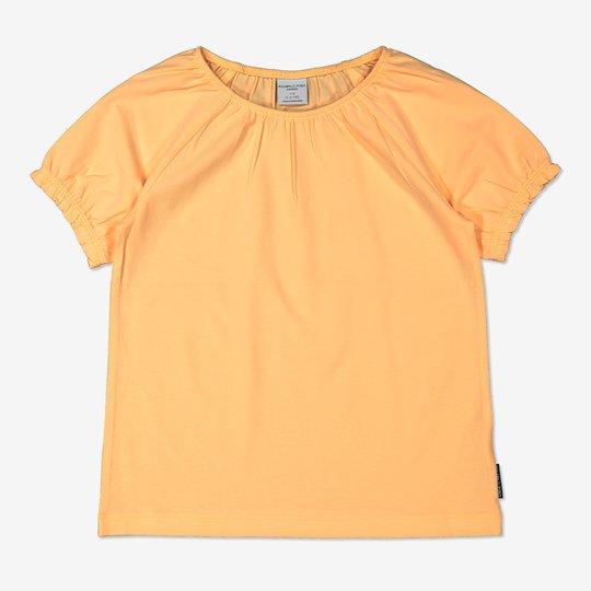 Ensfarget topp med pufferm gul