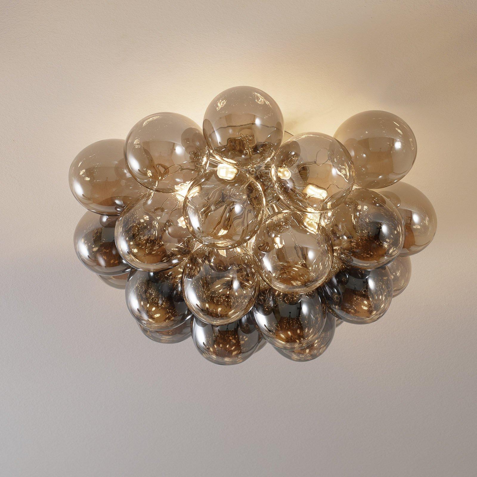 Balbo taklampe, røykgrå glass, 13 lyskilder