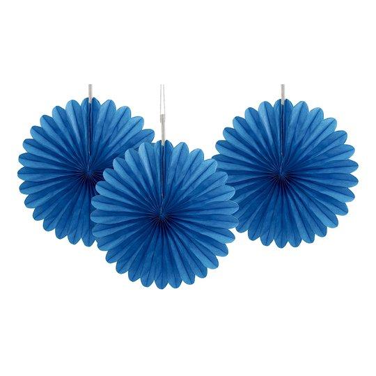 Pappersfjädrar Blå Mini Hängande Dekoration - 3-pack