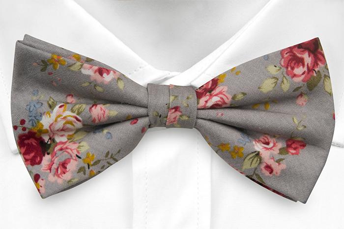 Bomull Sløyfer Knyttede, Røde, rosa, gule og blå roser på grått, Grå, Blomster