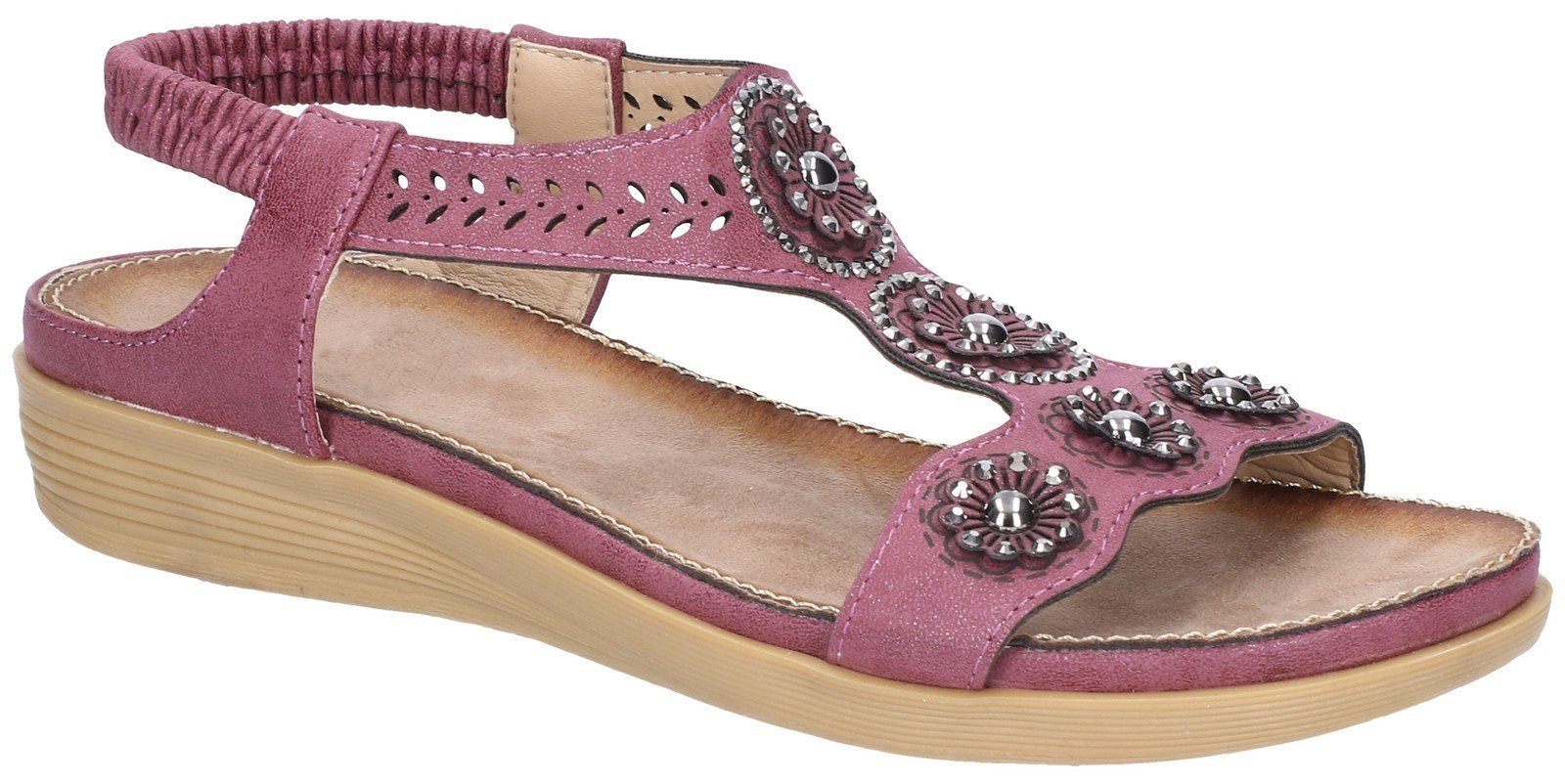 Fleet & Foster Women's Caper Elastic T-Bar Sandal Various Colours 28281 - Plum 3