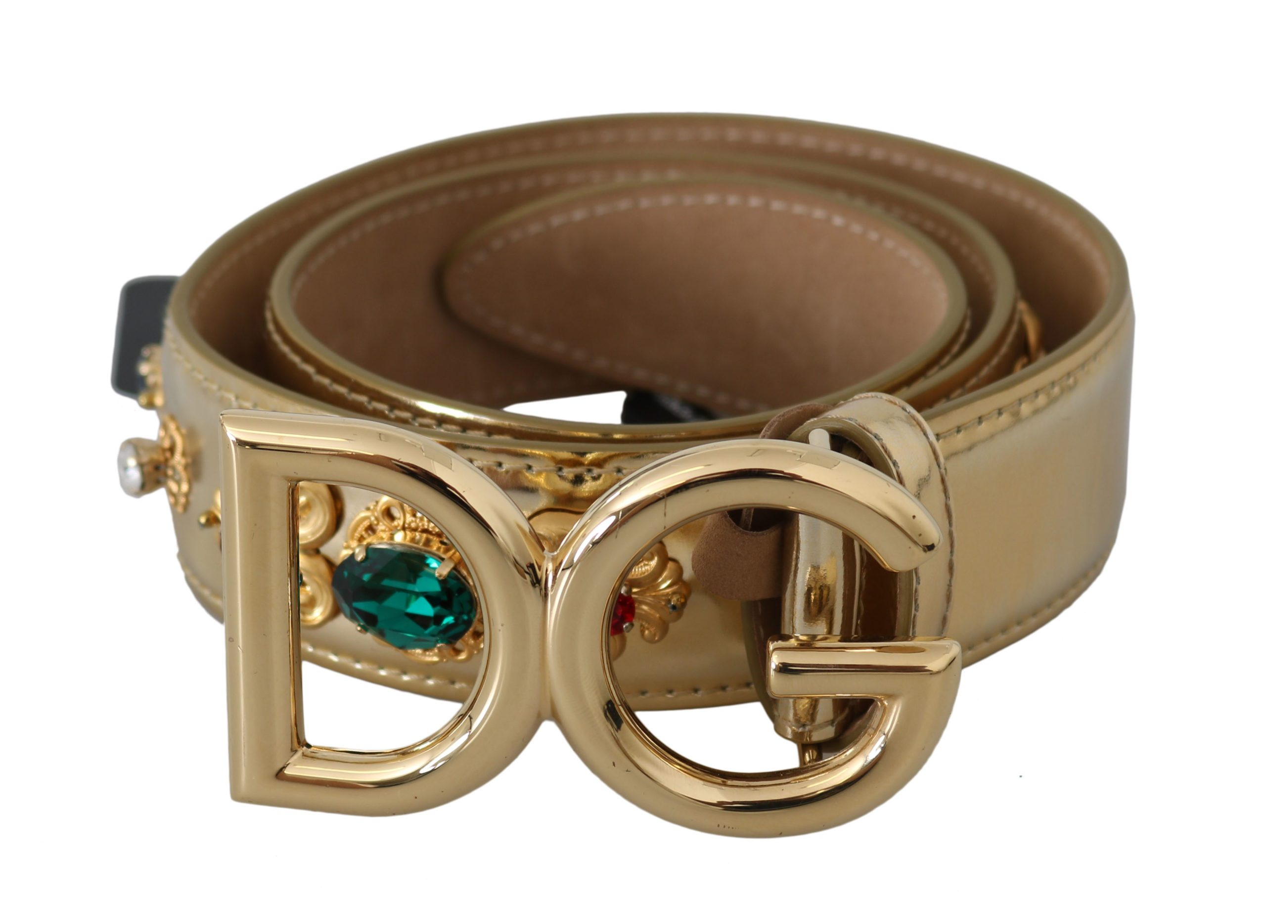 Dolce & Gabbana Women's Leather Buckle Crystal Belt Gold BEL60722 - 90 cm / 36 Inches