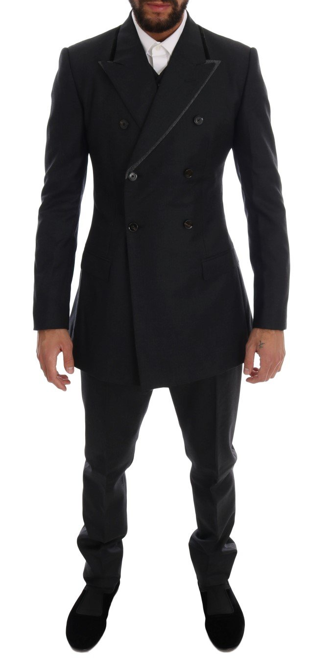 Dolce & Gabbana Men's Wool Double Breasted 3 Piece Suit Gray KOS1110 - IT44 | XS