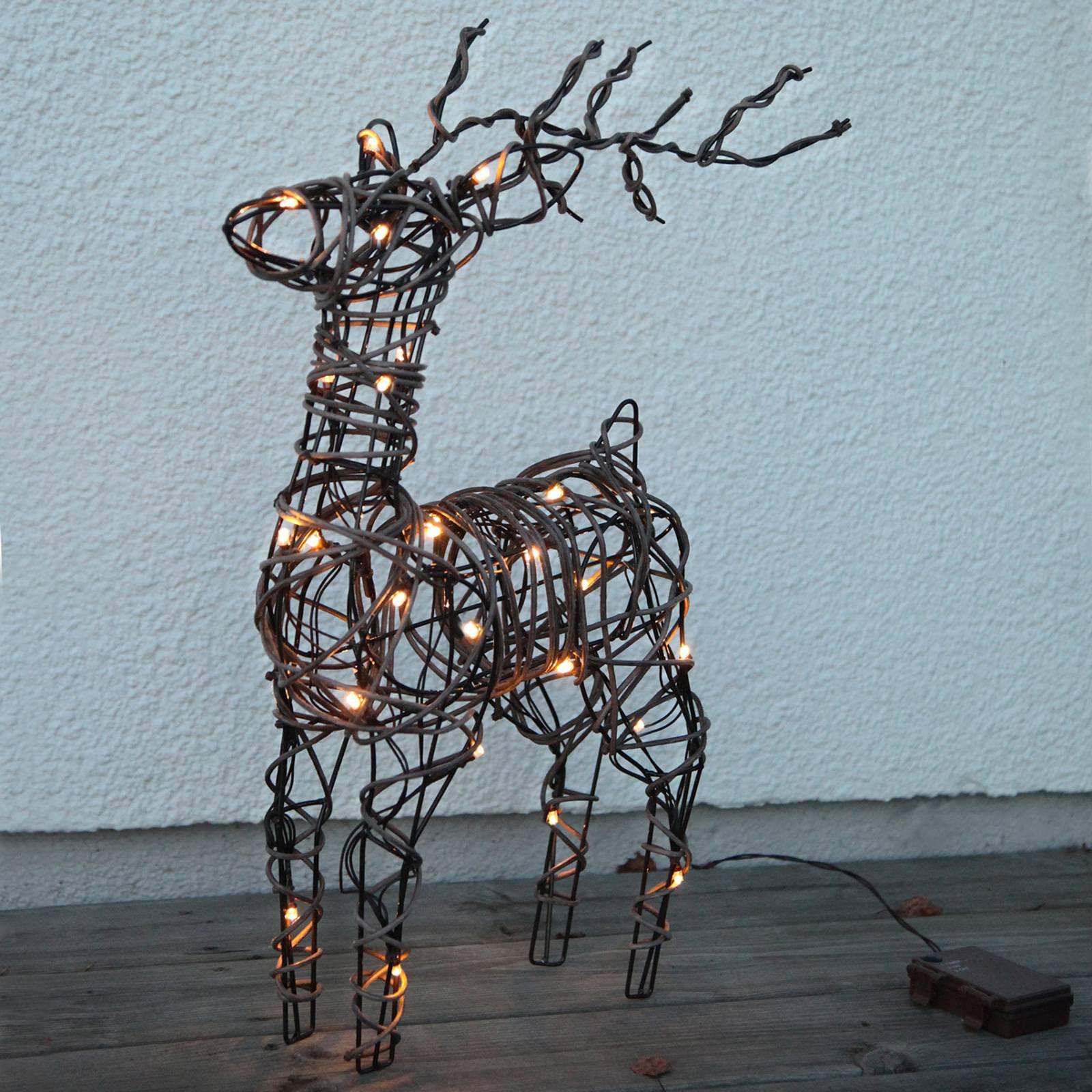 Deer-LED-ulkokoristevalo paristoilla, rottinkia
