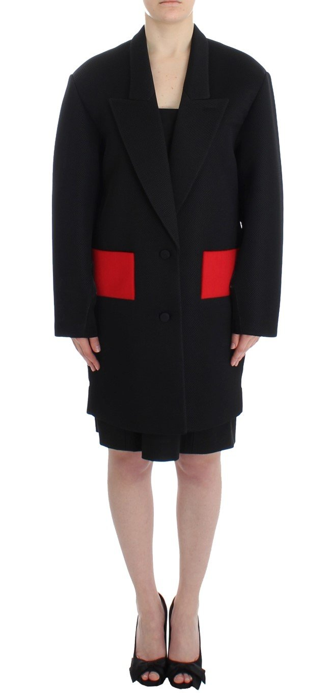 KAALE SUKTAE Women's Trench Long Draped Coat Black SIG12602 - IT42|M