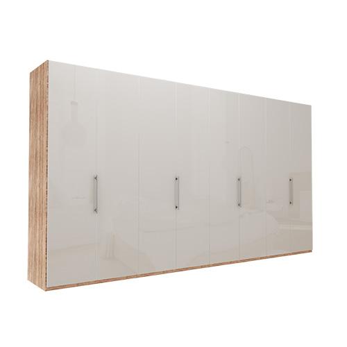 Garderobe Atlanta - Lys rustikk eik 400 cm, 216 cm, Uten gesims / ramme