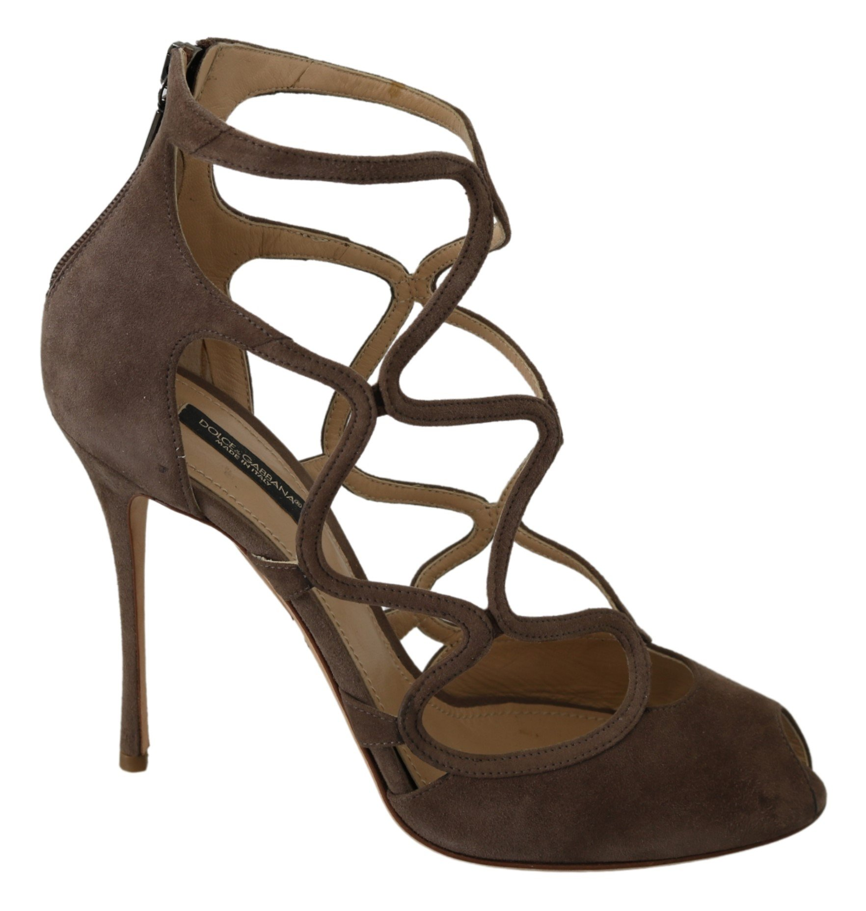 Dolce & Gabbana Women's Suede Stiletto Pumps Beige LA7365 - EU39/US8.5