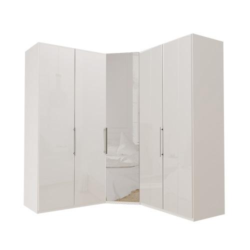 Garderobe Atlanta - Hvit 100 + hjørne + 100, 236 cm, Hvitt glass
