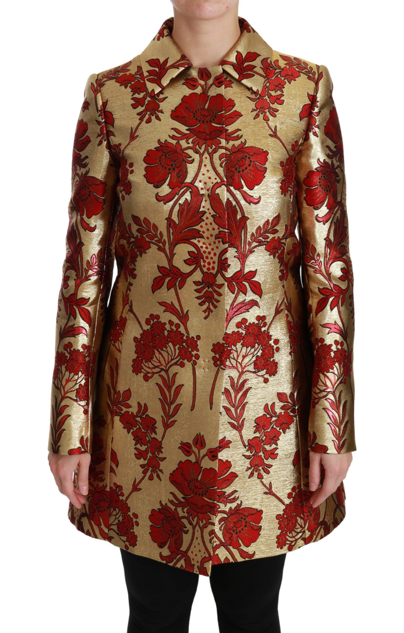 Dolce & Gabbana Women's Floral Brocade Cape Coat Jacket Gold JKT2519 - IT36 | XS